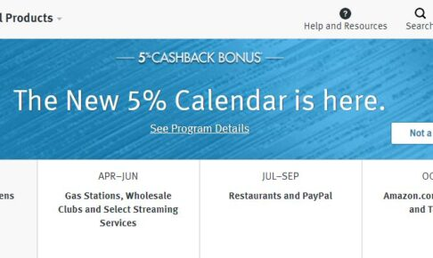 Discover5%キャッシュバックカレンダー2021